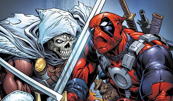 Deadpool facing off against Taskmaster